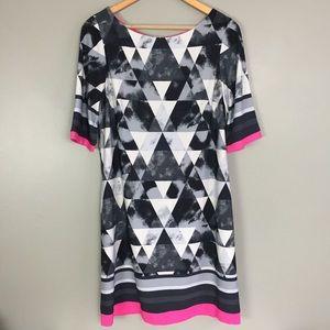 Eliza J Gray and Pink Geometric Shift Dress